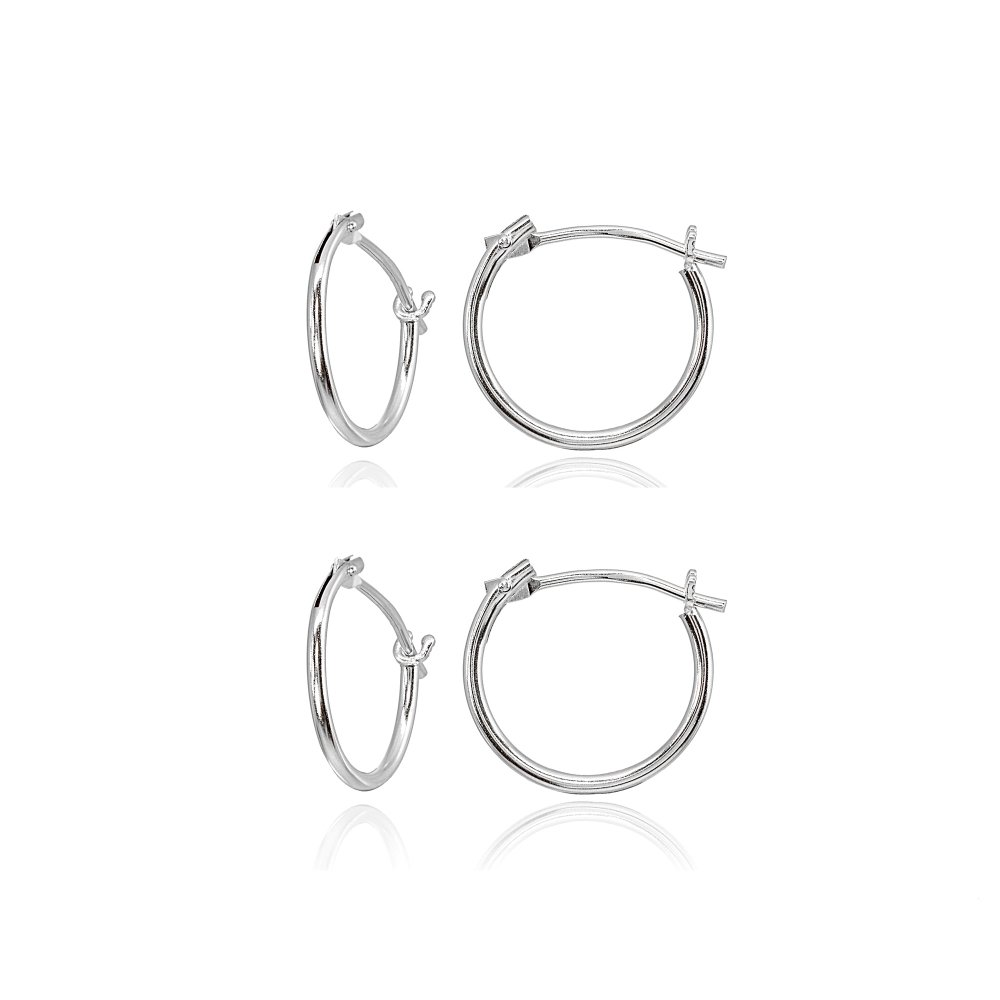 2 Pairs 14K White Gold Tiny Small 12mm High Polished Round Thin Lightweight Unisex Hoop Earrings
