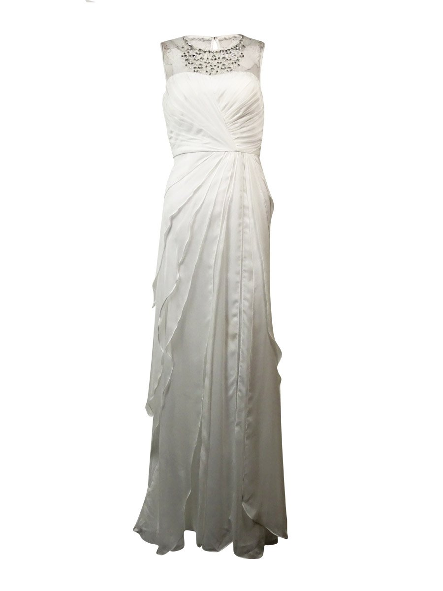 Adrianna Papell Women's Pleated Bead Embellished Dress (6, Ivory)