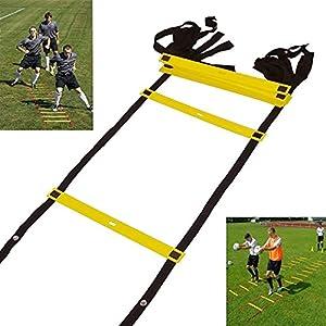 Speed Training Agility Ladders, Jmkcoz Personal Training Equipment 10 Rung Adjustable Football Basketball Training Agility Ladder with Black Carry Case