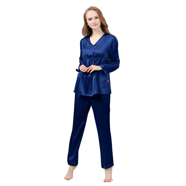 LULUSILK Damen 22 Momme Seide Langarm Pyjama Nachtwäsche Schlafanzug