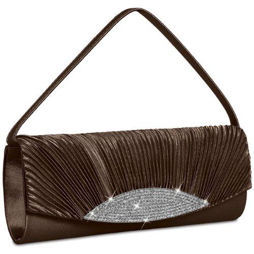 Rhinestones with Evening TA289 brown Satin Gorgeous Bag Dark CASPAR many Womens Clutch colours ZqSwTxn0F