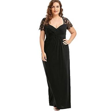 a66277e9ade Jushye Plus Size Long Dress, Women Fashion Lace Partchwork Dresses Sexy  Short Sleeve Maxi Dress