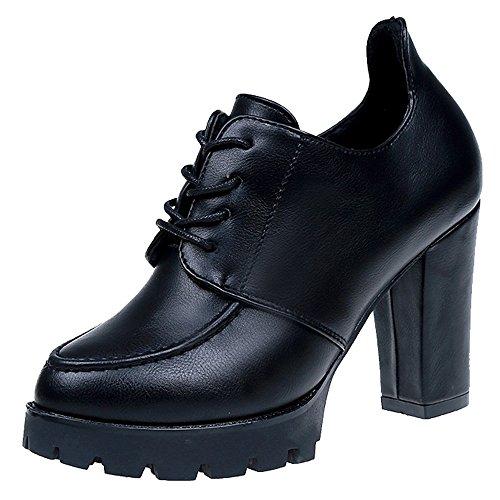 Chaussures Filles Épais Bas Britanniques Cuir Femme Femmes chaussures Pour À En Talons Escarpins chaussures Noir xw0wqSvU