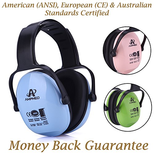 Noise Reduction Earmuffs for Kids: Amplim Best Passive Baby Ear Muff Headphones for Toddlers & Teens. Child Sound Hearing Protection at Concerts, Sport & Outdoor Events. New – Blue