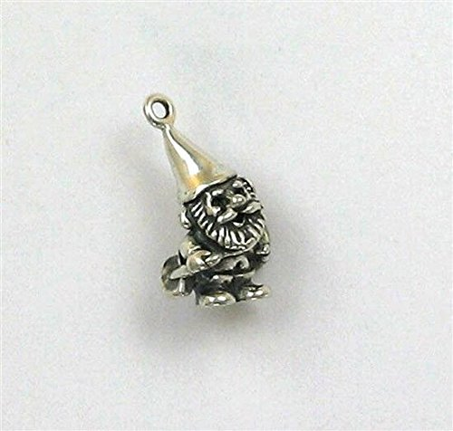 Sterling Silver 3-D Garden Gnome with Shovel Charm Jewelry Making Supply, Pendant, Charms, Bracelet, DIY Crafting by Wholesale Charms