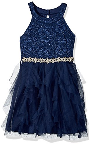 My Michelle Big Girls' Special Occasion Dress in Lace and Tulle, Navy, 16 (Clothes My Michelle)