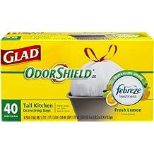 Glad OdorShield Tall Kitchen Drawstring Lemon Trash Bags, 13 Gallon, 40 Count
