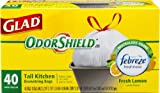 Kitchen Garbage Cans 13 Gallon Glad OdorShield Tall Kitchen Drawstring Lemon Trash Bags, 13 Gallon, 40 Count