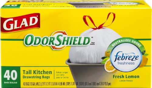 Glad OdorShield Tall Kitchen Drawstring Lemon Trash Bags, 13 Gallon, 40 Count (Packaging May Vary)