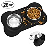 HonFei Non Spill Dog Bowls, Stainless Steel Dog Cat Bowl with Non-Skid Silicone Mat, 28-30 oz Basic Feeder/Water Bowls for Pet Set of 2 (Medium)