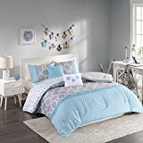 Intelligent Design - Clara -All Seasons Comforter Set -4 Piece - Blue - Geometric Pattern - Twin/TwinXL Size - Includes 1 Comforter, 1 Sham, 2 Decorative Pillows - Great For Dorm Room And Guest Room