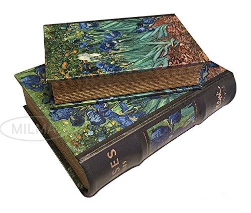 PolishArt Art Masterpiece Collection Vincent Van Gogh Irises Secret Nesting Leather Book Box Set