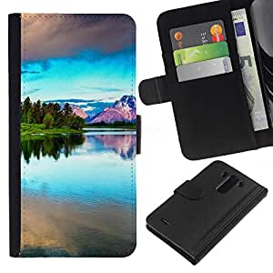 JackGot ( Natura Bella Forrest Verde 42 ) LG G3 la tarjeta de Crédito Slots PU Funda de cuero Monedero caso cubierta de piel