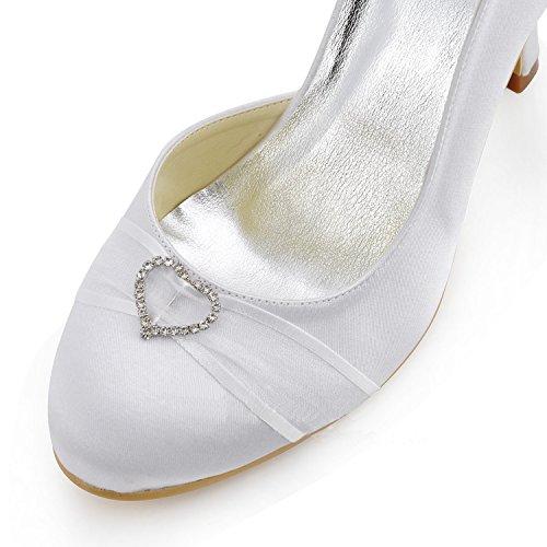 Kevin Fashion mz591–Round Toe Stiletto talón cinta satén de novia de bomba, color Blanco, talla 43 EU