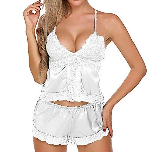 Lingerie for Women,Womens Plus Size Eyelash Lace Lingerie Bodydoll V-Neck Lace Details Pajamas Set,Women's Exotic Teddies & Bodysuits,White,L