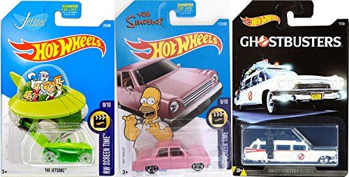 Hot Wheels Simpsons Family Car Ghostbusters Ecto-1 Ambulance Exclusive & Jetsons Capsule Car Fun Set Car HW Screen time Cartoons & Movie Editions 3 pack in PROTECTIVE CASES