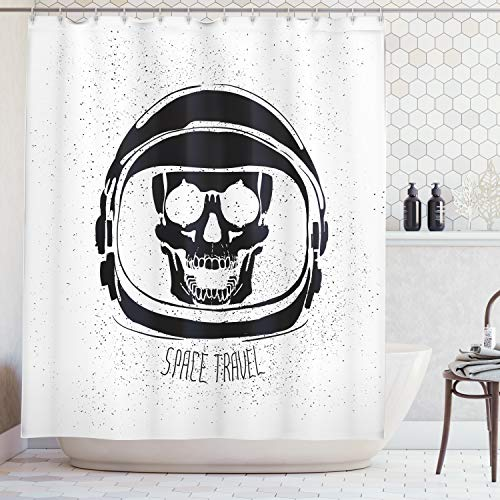 Ambesonne Skull Decorations Shower Curtain by, Cosmonaut Skeleton Alien with Lettering Invading Cosmos Future Theme, Fabric Bathroom Decor Set with Hooks, 70 Inches, Black White