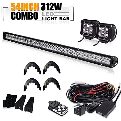 TURBOSII 54 Inch Offroad Led Light Bar Spot Flood Combo Beam Bumper Windshield Roof Lights for GMC Truck Chevrolet SUV ATV UTV 4x4 Trailer Forklift Jeep Jk Train Bus Dodge Toyota Tractor RZR Pickup