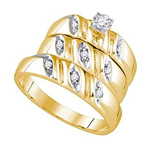 0.12 cttw Yellow Gold Plated Sterling Silver Round Cut Diamond Trio Wedding Sets His Hers