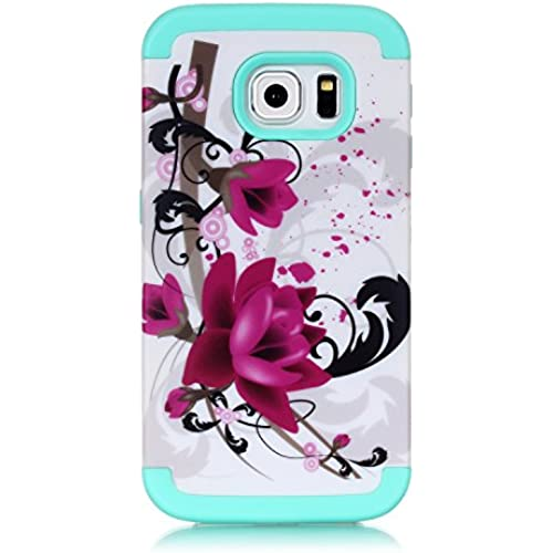 Beautiful Flower Print Rugged Rubber Hybrid Hard PC Defender Case Cover For Samsung Galaxy S7 edge Green Sales