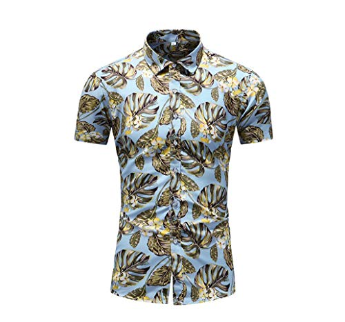 - XXJIN Men's Printed Shirt Breathable Casual Short Sleeve Button Down Shirt Multi-Color Optional(multicolored-15,7X-Large)