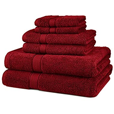 Pinzon Blended Egyptian Cotton 6-Piece Towel Set, Cranberry