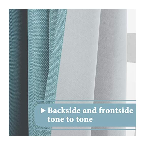 H.VERSAILTEX Linen Curtains Room Darkening Light Blocking Thermal Insulated Heavy Weight Textured Rich Linen Burlap Curtains for Bedroom/Living Room Curtain, 52 by 108 Inch - Eggshell Blue (1 Panel) - STANDARD SIZE: Sold per single panel in package, panel measures 52 inches wide by 108 inches long, each faux linen curtain panel has 8 gorgeous copper metal grommets, inner rim of grommet is 1 5/8 inch which fit the rod up to 1 1/2 inch, slides smoothly back and forth LIGHT BLOCKING: This elegant window panel is crafted from rich faux linen textured fabric, inner woven construction features natural blackout effect, definitely block out 85% or more sun light and prevent harmful UV ray, this opaque piece totally darken your room, reduce the noise and gives you 100% privacy ENERGY EFFICIENT: This magic window covering is perfect on thermal insulated, energy saving and balance the temperature. Efficiently prevents cold or heat transfer from outside, blocks drafts in cold months and keeps warm air out in the summer. Great for letting you sleep sweetly on weekend mornings and vacation days - living-room-soft-furnishings, living-room, draperies-curtains-shades - 51nrt3EJKNL. SS570  -