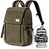 Camera Backpack Zecti Waterproof Canvas Professional Camera Bag for Laptop and Other Digital Camera Accessories with Rain Cover-Green