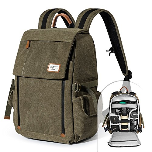 Camera Backpack Zecti Waterproof Canvas Professional Camera Bag for Laptop and Other Digital Camera Accessories with Rain Cover-Green (Best Camera Bag Street Photography)
