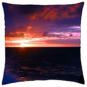 a most wonderful sea sunset - Throw Pillow Cover Case (18