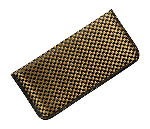 Soft Fabric Slip In Eyeglass Case, Medium, Tweed Fabric In Black and Gold