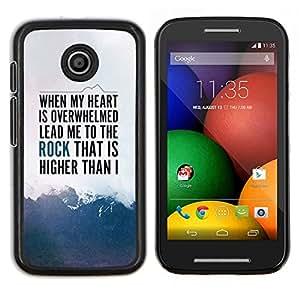 Caucho caso de Shell duro de la cubierta de accesorios de protección BY RAYDREAMMM - Motorola Moto E - Heart Rock Montañas Inspiring texto Cielo