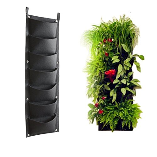 Garden Planter, Windspeed 7 Pockets Vertical Wall Mounted Planter Grow Pot Bag/Balcony Flowers Vegetables Plant hanger Holder For Yards, Apartments, Balconies, Patios, - Hanger Pot 7