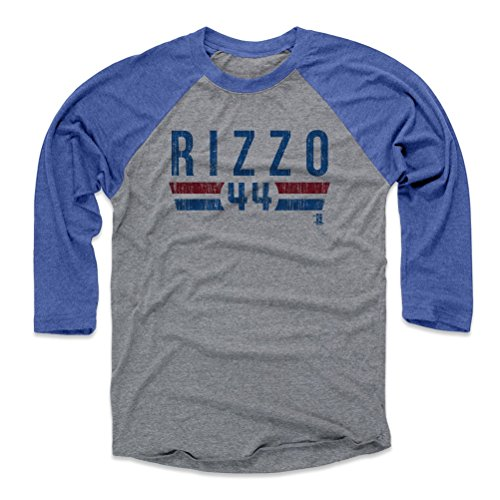 Chicago Cubs Heather - 500 LEVEL Anthony Rizzo Baseball Tee Shirt Medium Royal/Heather Gray - Chicago Baseball Raglan Shirt - Anthony Rizzo Font B