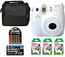 Fujifilm Instax Mini 8 Instant Film Camera (White) + 6 Pack Fuji Instax Mini Film (60 Prints) + 4 AA Rechargeable Batteries + Bag + Microfiber Cleaning Cloth