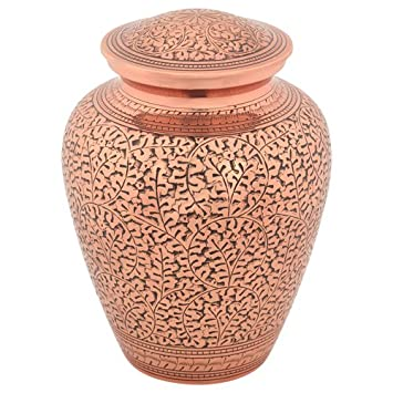 Silverlight Urns Leaves of Copper Urn for Ashes, Brass Urn with Etched Pattern, 9.25 Inches Tall