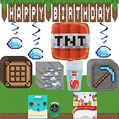 Minecraft Birthday Party Supplies Bundle of Plates Napkins Balloon Table Cover Hanging Swirls Banner Cups with Happy Birthday Card
