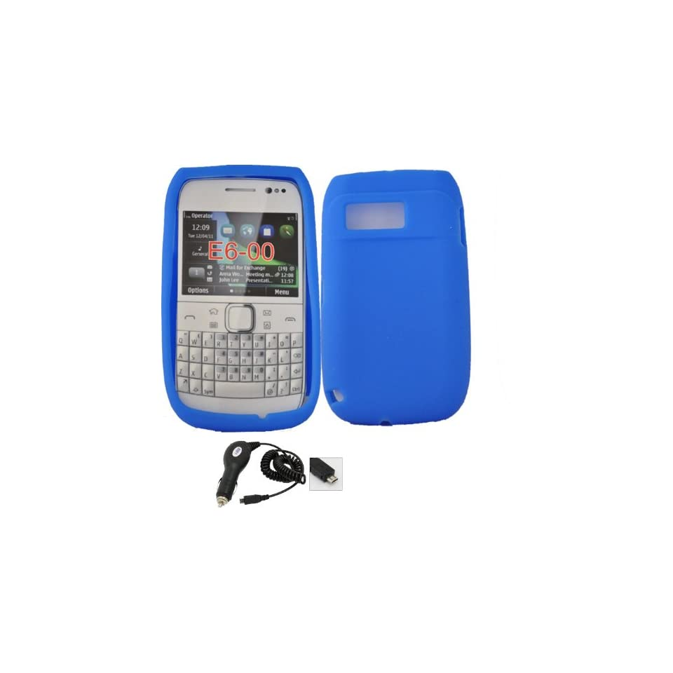 Mobile Palace  Blue silicone skin case cover pouch with car