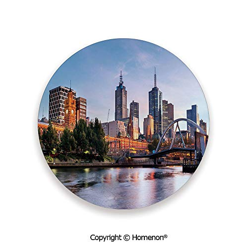 Early Morning Scenery in Melbourne Australia Famous Yarra River Scenic,Hot Sale Coasters Protection From Drink Orange Green Pale Blue,3.9×0.2inches(4PCS),Protect Furniture From Coffee Or Tea (Furniture Melbourne Sale)