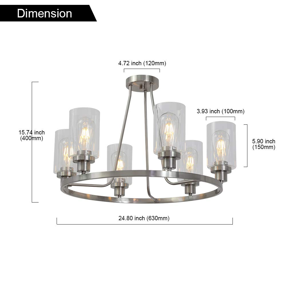 MELUCEE 6-Light Brushed Nickel Round Chandelier with Clear Glass Shade, Semi Flush Mount Ceiling Light Island Lighting for Dining Room Living Room Bedroom UL Listed by MELUCEE (Image #6)