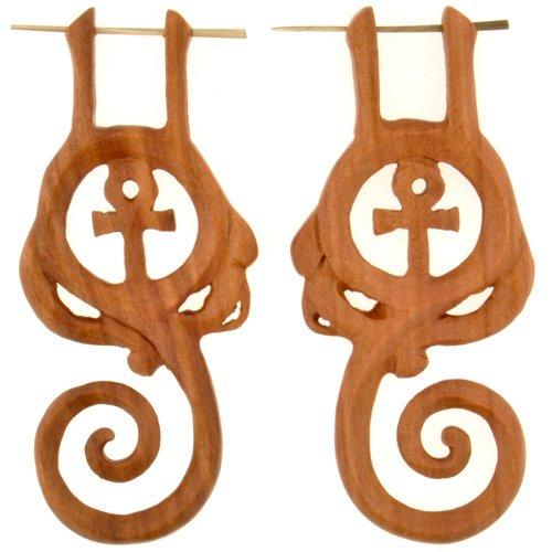 Pair of Nouveau Ankh Stirrups: 18g 18 Pair Nouveau Ring