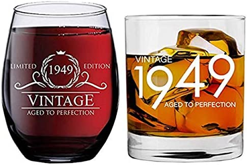 Best Anniversary Gift Ideas Him Her Husband Wife Mom Dad Party Decorations Wines 15 oz Stemless Glasses Funny Vintage 70 Year Old Presents 1949 70th Birthday Gifts for Women and Men Wine Glass