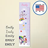 321Done Personalized Hanging Growth Chart, Pink Unicorn with Name,Kids Height Ruler Vinyl Banner, Rainbow Princess Girls Nursery Wall Decor, Made in USA