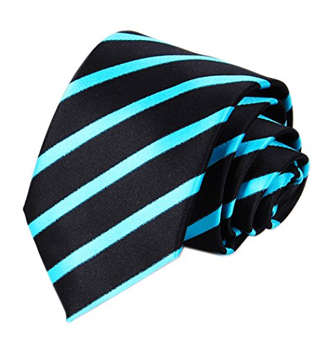 Necktie Black Background (Men Black Cyan Blue Silk Self Cravat Tie Ascot Beautiful Engagement Slim Necktie)