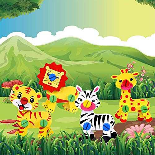 Take Apart Toys Wooden Blocks Animals Building Toys, Toddlers Toys,STEM Toys, Preschool Toys, Xmas Gifts for Kids, Wooden Animals Include Lion, Giraffe, Zebra and Tiger