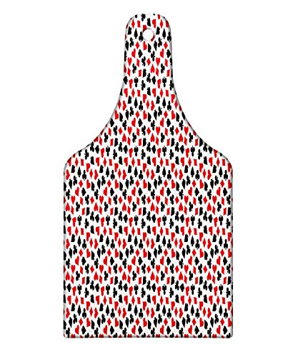 ing Board, Heart Spades Diamonds and Clubs Pattern in Playing Card Suit Themed Illustration, Decorative Tempered Glass Cutting and Serving Board, Wine Bottle Shape, Red Black White ()