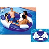 """84"""" Inflatable Blue and White Sofa Island Swimming Pool Lounger"""