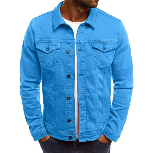 Willsa Men's Coat Autumn Winter Button Solid Color Vintage Denim Jacket Tops Blouse ()