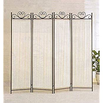 Legacy Decor 4 Panel Room Screen Divider Ivory Linen Fabric And Black Metal Frame