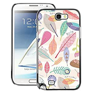 A-type Arte & diseño plástico duro Fundas Cover Cubre Hard Case Cover para Samsung Note 2 N7100 (Autumn Fall Leaves Nature Pattern Clean)